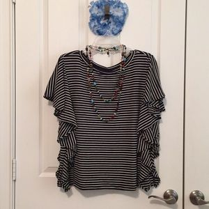 Gap Blue Striped Top size Large